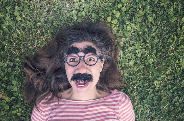 woman with comedy moustache