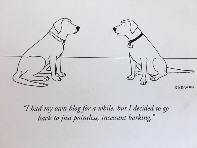 Dog cartoon about blogs